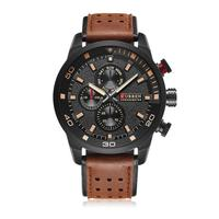 Free shipping Multi-function waterproof leather strap wrist watch 8250 CURREN