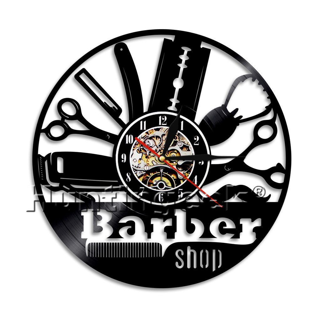 Barber Shop Wall Decor Wall Clock Vintage Vinyl Record Clock Barshop Wall Sign Haircut Hairdresser Decorative Clock Gift (Without LED)