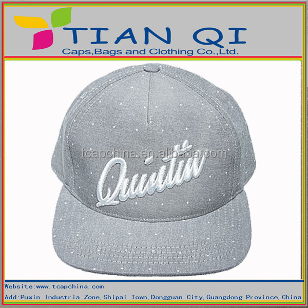 5panel grey color design strap back hat with contrast 3D embroidery