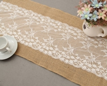 wholesale Jute table runner universal fancy dining white lace Jute white lace linen table runner for rectangle tables
