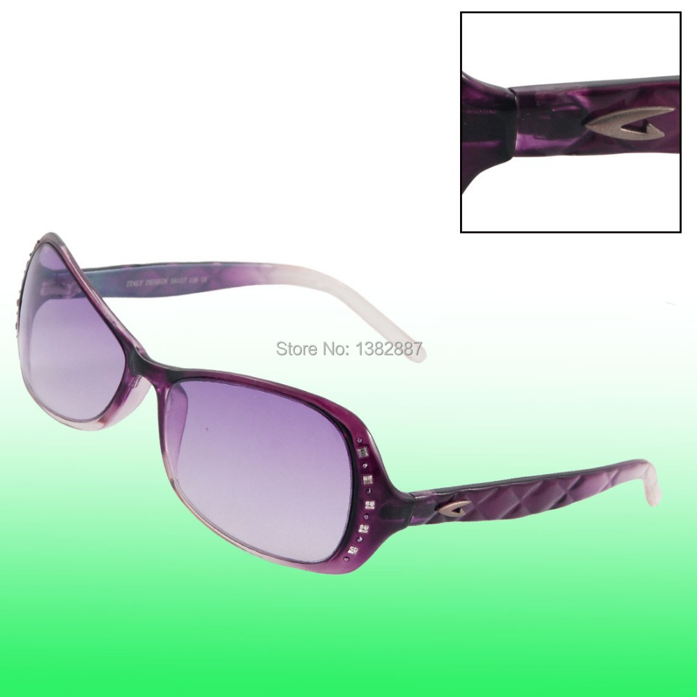 "Woman Dark Purple Light Plastic Full Frame Sunglasses Lens Size 5.7 x 3.8cm / 2.2"" x 1.5""(L*W)"