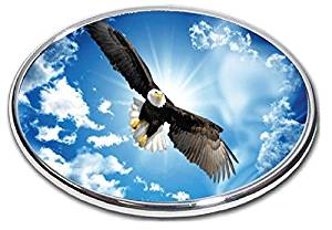"""American Eagle Trailer Hitch Cover - 2"""" Hitch Receiver - 3/8 Inch Thick High Grade Aluminum - Size Measures 4"""" X 6"""" - American Blad Eagle Falg - 3"""