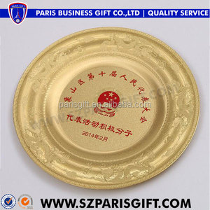 China emblem custom round metal plaque with dragon pattern