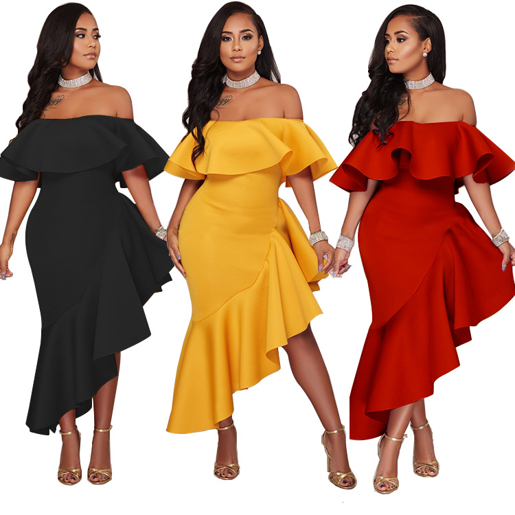 Best Price Irregular Icing Ruffled Womens Off Shoulder Casual Bodycon Pencil Dress
