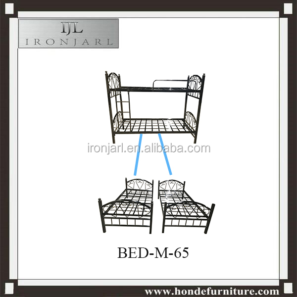 Beautiful Headboard Metal Bunkbed Furniture Bedroom Double Deck Twin Single Bed Y