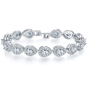 Junjiang ZB0051 luxury jewelry 14K white gold plated women CZ diamond tennis bracelet for wedding handmade bracelet