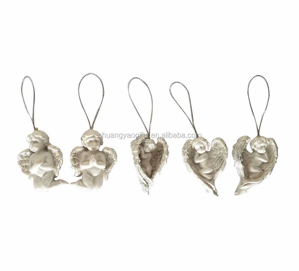 Polyresin white color christmas sleeping angel hanging ornaments decoration on tree