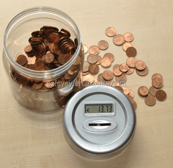 2018 New Style Transparent Jar Shaped Electricity Saving Bank Coin Money Box For Kids