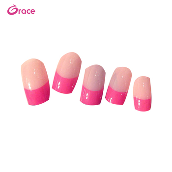 B35 artifical long false nail press on acrylic nail tips korea fashion pre designed c curve nail tips