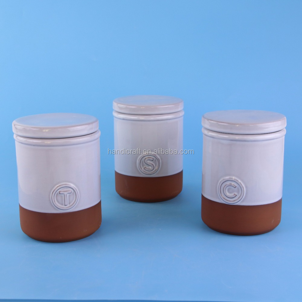 Terracotta Ceramic Sugar Coffee Tea Kitchen Canister Set With Lids ...