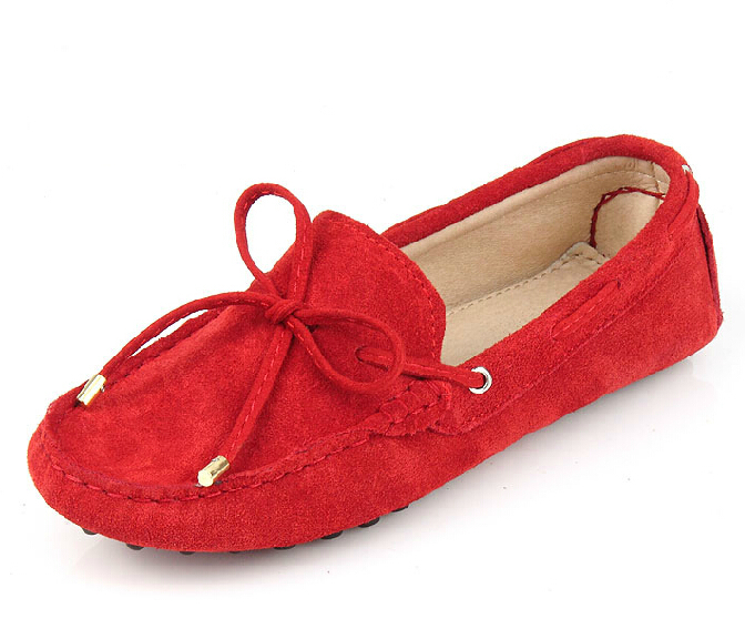 2015 Women Loafers Shoes Woman Genuine Leather Shoes Flats Moccasins Woman Suede Casual Shoes 14 Colors Plus Size 34-39
