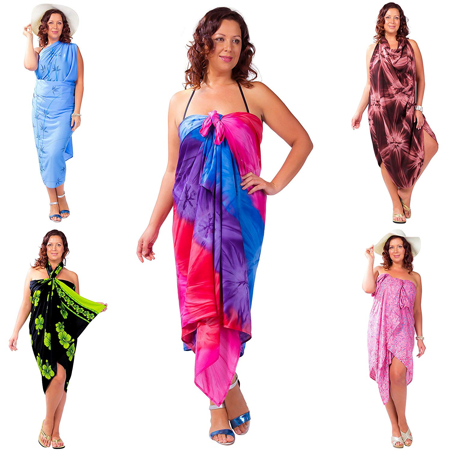 1dc8926012 Get Quotations · 1 World Sarongs Womens Plus Size Party Package Grab Bag of Swimsuit  Cover-Up Sarong