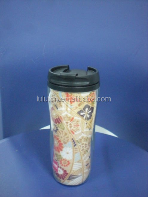 for Star bucks style with waterproof lid Double wall plastic thermal coffee mug