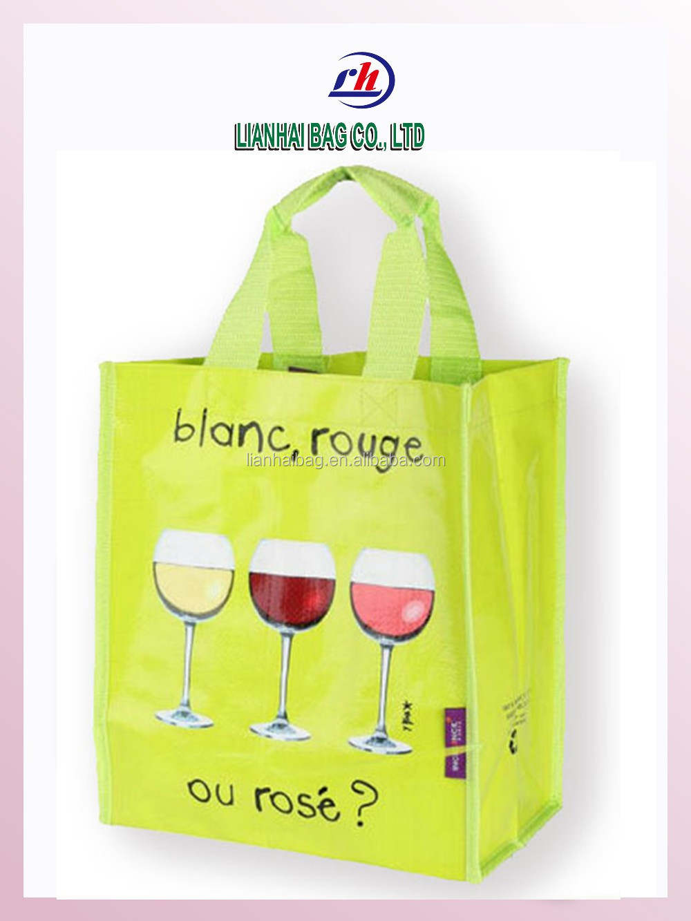 Laminated Eco-friendly PP woven bag for wine tote bag with 6 bottles