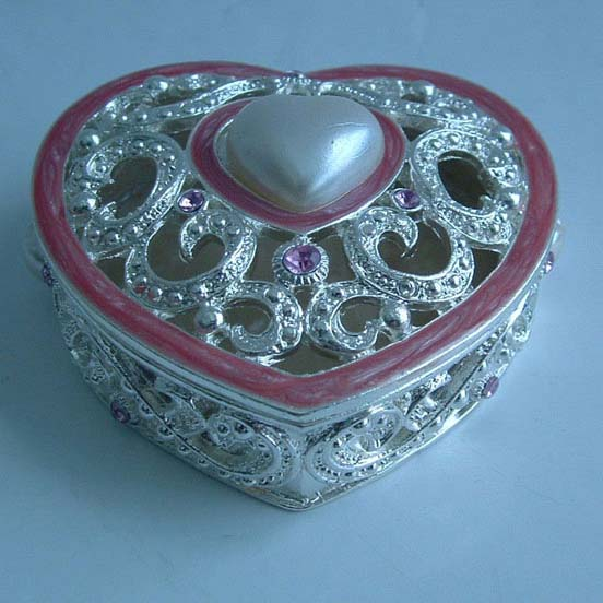 heart shape silver plated metal jewelry box(P05050c2)