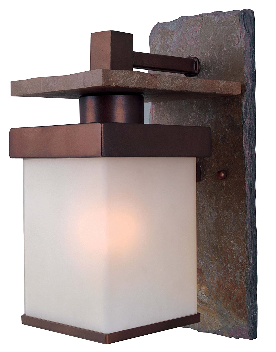 Kenroy Home 70283COP Boulder Medium Wall Lantern, Natural Slate With Copper