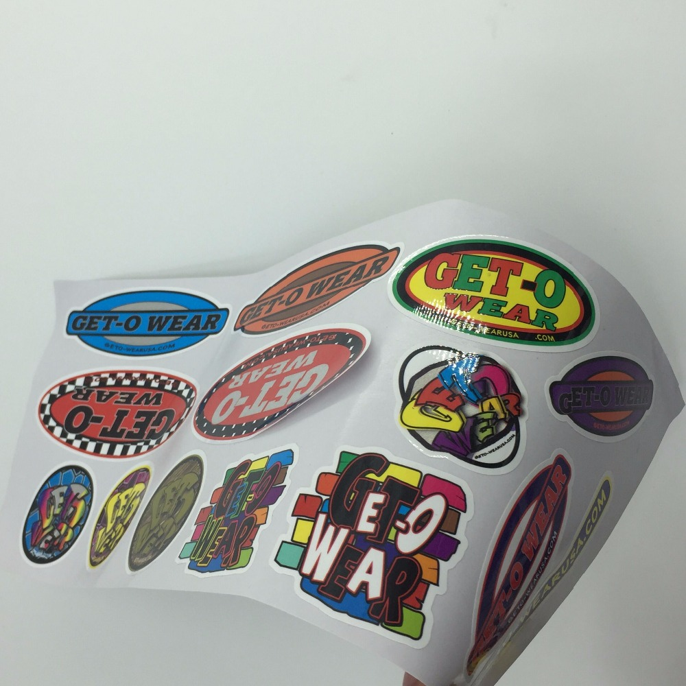 M105 Waterproof UV coated logo label sticker printing
