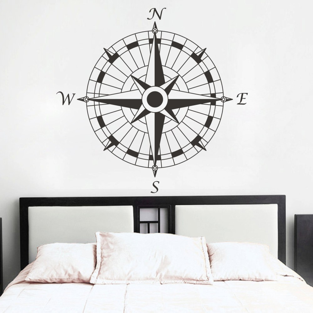 nautical compass wall decal office vinyl wall sticker art graphic set sail home decoration room. Black Bedroom Furniture Sets. Home Design Ideas