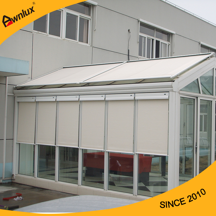 Motorized sun room conservatory awning