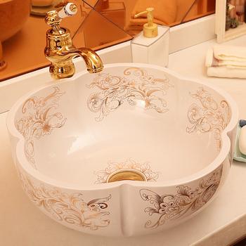 Europe Vintage Style Ceramic Sinks Counter Top Wash Basin Bathroom Sink  Ceramic Bowl Wash Basin