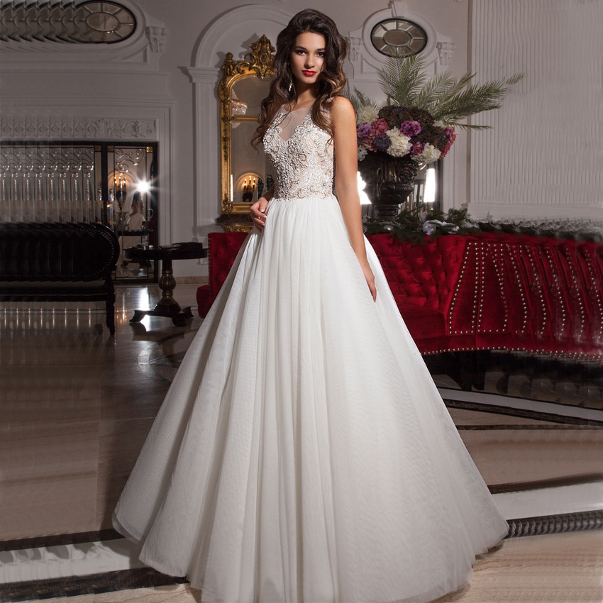 Aliexpress Com Buy Simple Elegant See Through Lace Part: Tank Top Wedding Dresses Promotion-Shop For Promotional