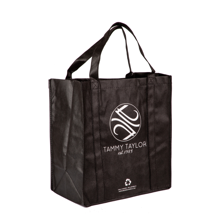 promotion custom black grocery tote bag reusable non-woven shopping bag