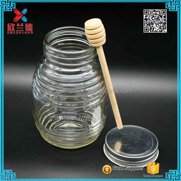 wholesale 1L glass honey jar with wooden spoon