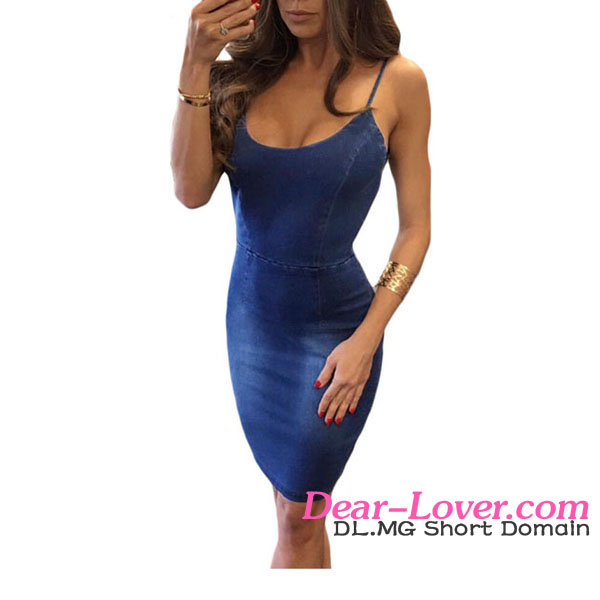 2017 Hot Fashionable Alluring Spaghetti Straps Open Back Blue Women Denim Dress