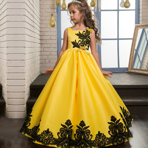 Kids frock designs yellow embroidered girl dress
