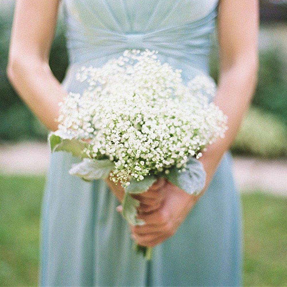Shine Co Artificial Baby Breath Single Stem Silk White Flowers 10 Pcs One Arrangement Bouquet