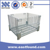 Foldable galvanized metal steel cage wire storage container