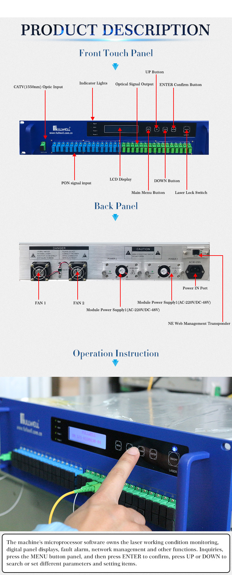 Fullwell Yüksek Güç 1550 2U 16 Port 19dBm Fiber Optik CATV Amplifikatör EDFA WDM