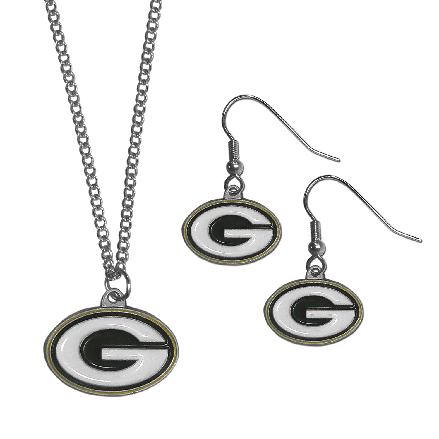 NFL Green Bay Packers Dangle Earrings & Chain Necklace Set, Green