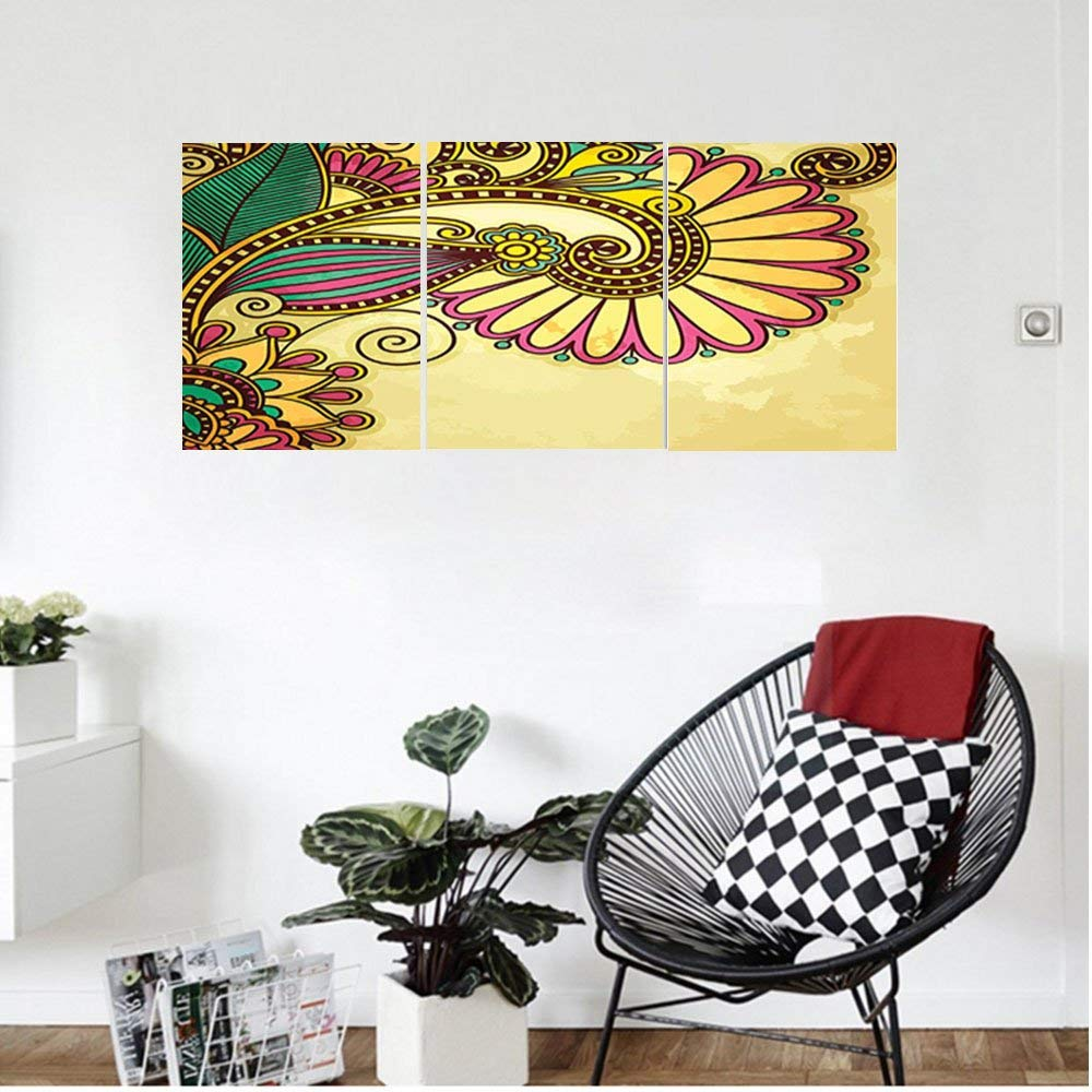 Liguo88 Custom canvas Grunge Home Decor Paisley Flower And Leaf Design With Ethnic Zen Floral Mandala Oriental Pattern Effects Bedroom Living Room Decor Multi