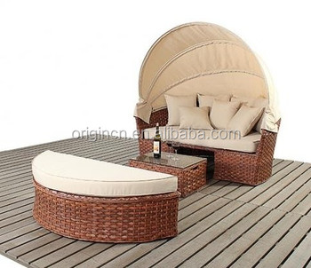 Elegant canopy garden outdoor wicker canopy bed furniture with half round ottoman ratan sun loungers for  sc 1 st  Jinhua Origin Furniture Co. Ltd. - Alibaba & Elegant canopy garden outdoor wicker canopy bed furniture with ...