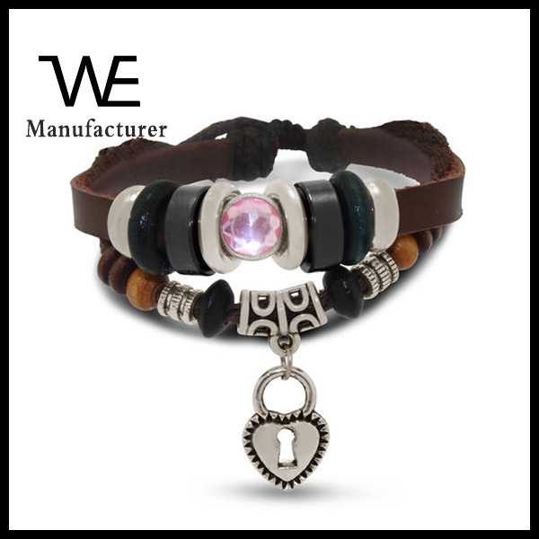Stylish Punk Multi layered Heart Pendant Adjustable Bracelet With Stainless Steel Leather and Cotton For Women