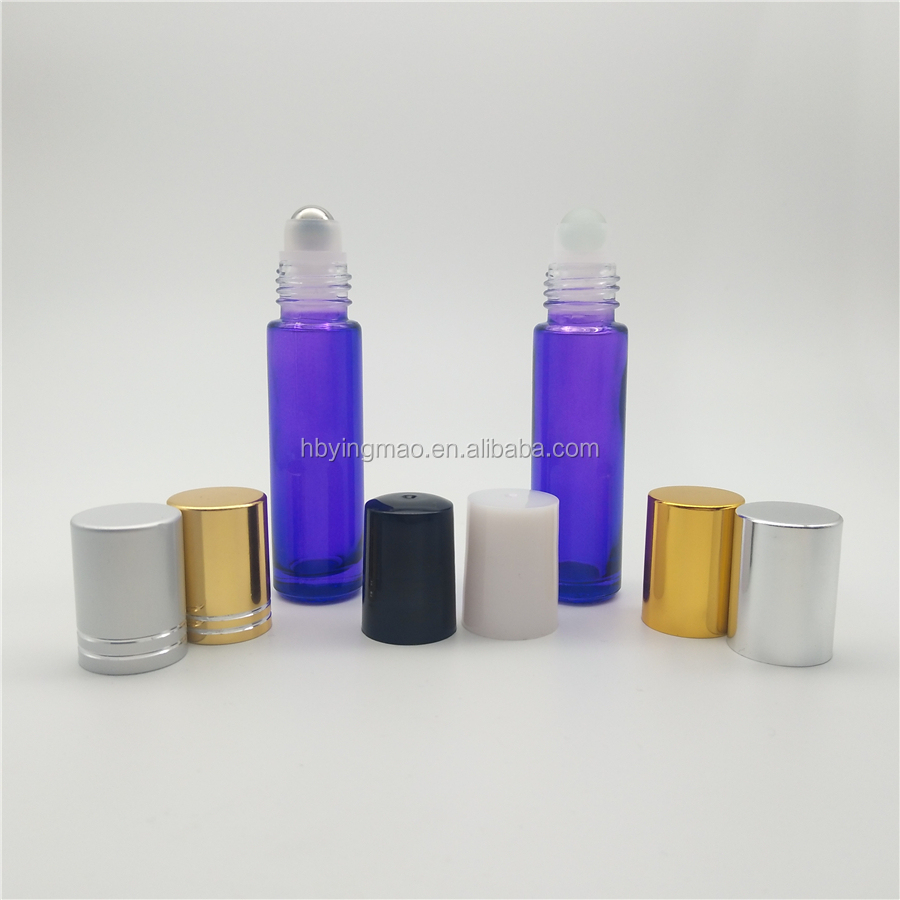 YM Cosmetic 10ml transparent purple glass roll on bottle with amethyst gemstone roller and silver black gold cap