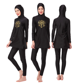 Black color full coverage islamic swimming costume swimwear muslim