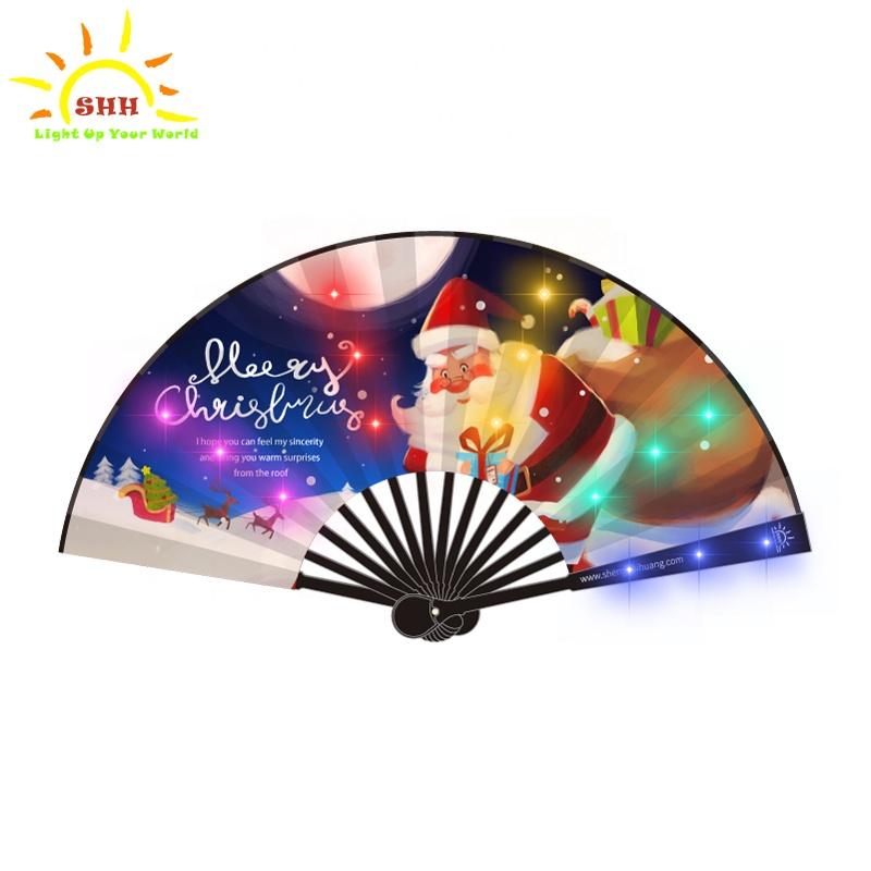 Китайский шелк ручной работы крафт светодио дный ручной вентилятор мигающий Складной вентилятор