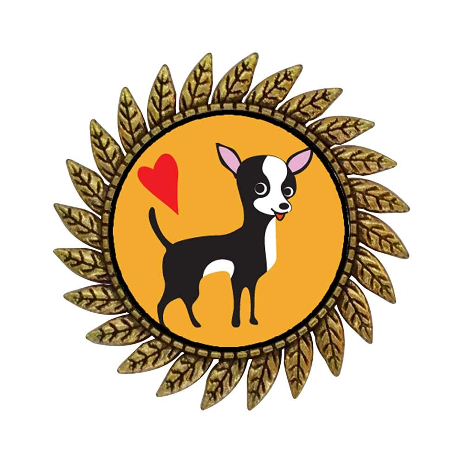 GiftJewelryShop Ancient Style Gold-plated Chihuahua Dog Hot Style Gear Round Pin Brooch