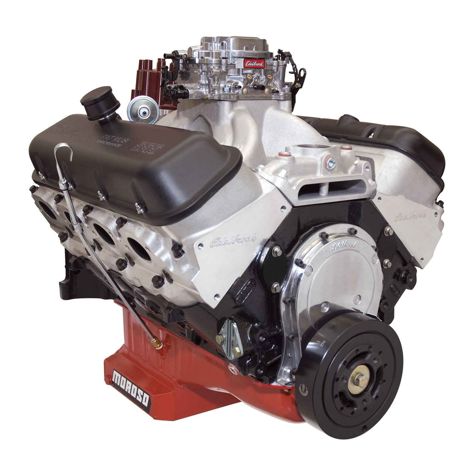 Edelbrock 49550 Edelbrock/Musi 555 Crate Engine Incl. Victor 454-R Jr. Manifold/RPM Xtreme Heads/Alum. Valve Covers/Roller Rocker Arms/Hyd. Roller Lifter Cam Water Pump Not Incl. Edelbrock/Musi 555 Crate Engine