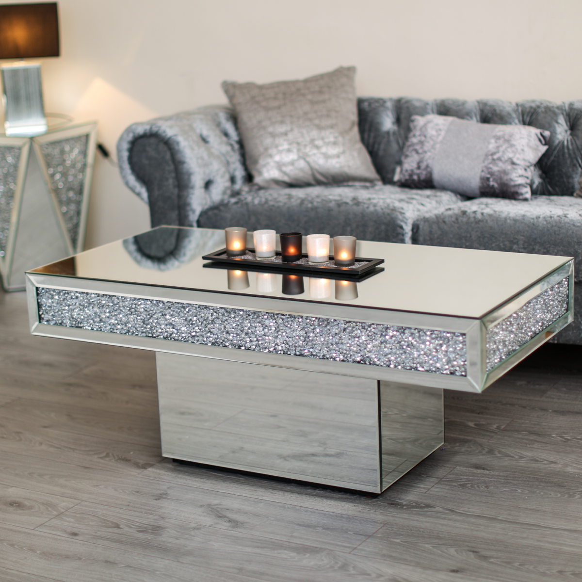 - Sparkle Furniture Diamond Crushed Mirrored Center Coffee Table
