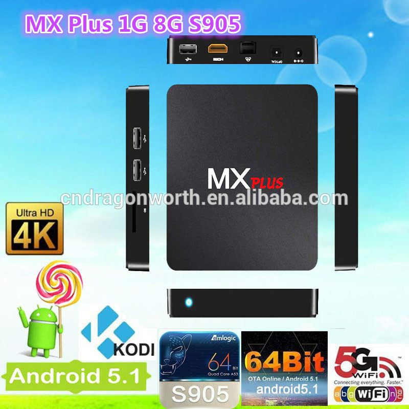 mx plus quad Core Full HD 64bit 1080P WiFi Bluetooth Netflix Youtube Media Player Android TV Box ott tv box