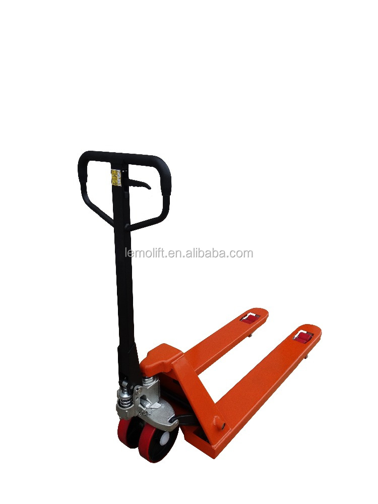 hydraulic manual lift pallet truck with 80x93mm fork wheels and 180x50mm nylon steering wheels