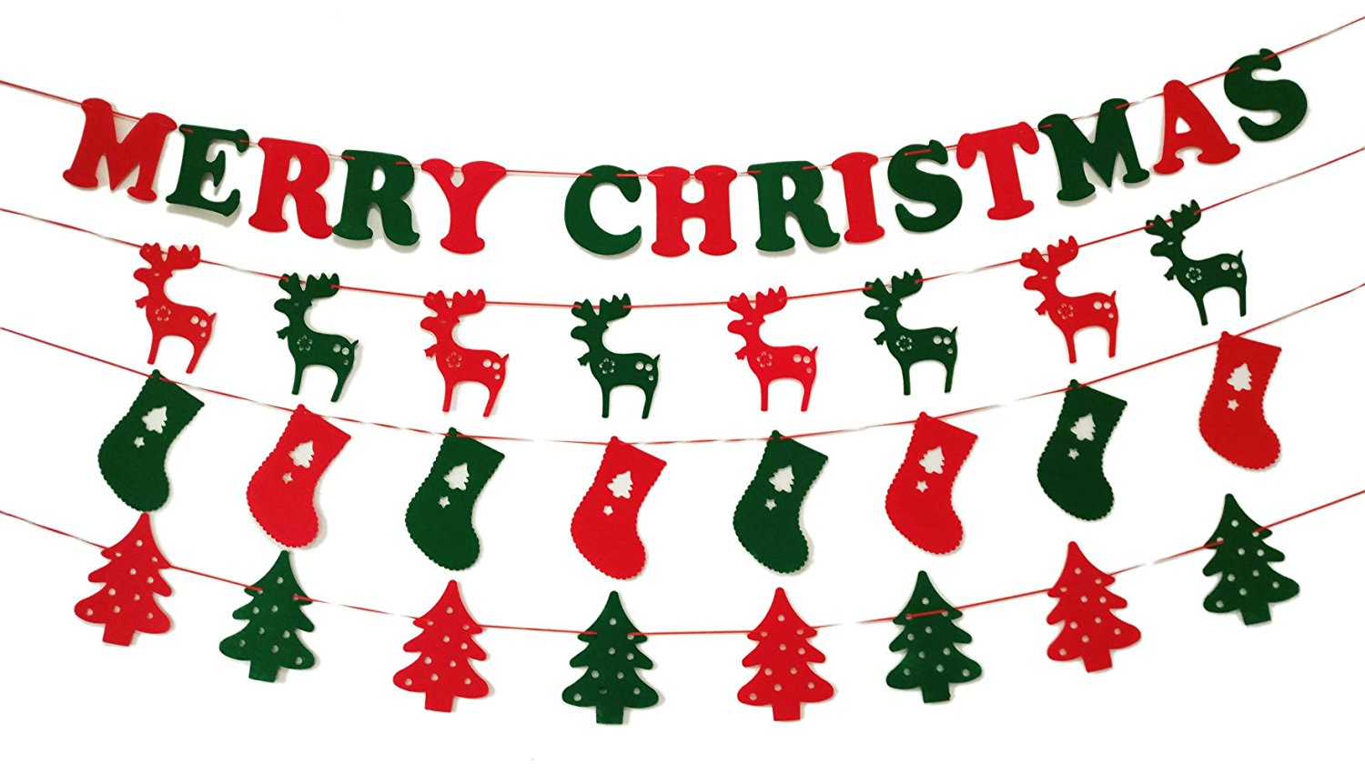 GOER Christmas Banners Set for Xmas Party Decoration and Photo Prop(MERRY CHRISTMAS,Christmas Stocking,Reindeer,Christmas Tree)