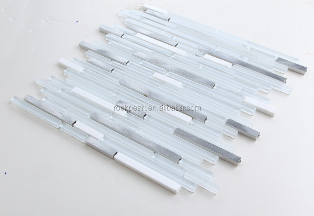 White strip Aluminium mix Glass and marble mosaic tile ACS-RRS4101