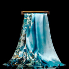 women scarf satin shawl hijab large size silk like high quality Chinese culture gift painting