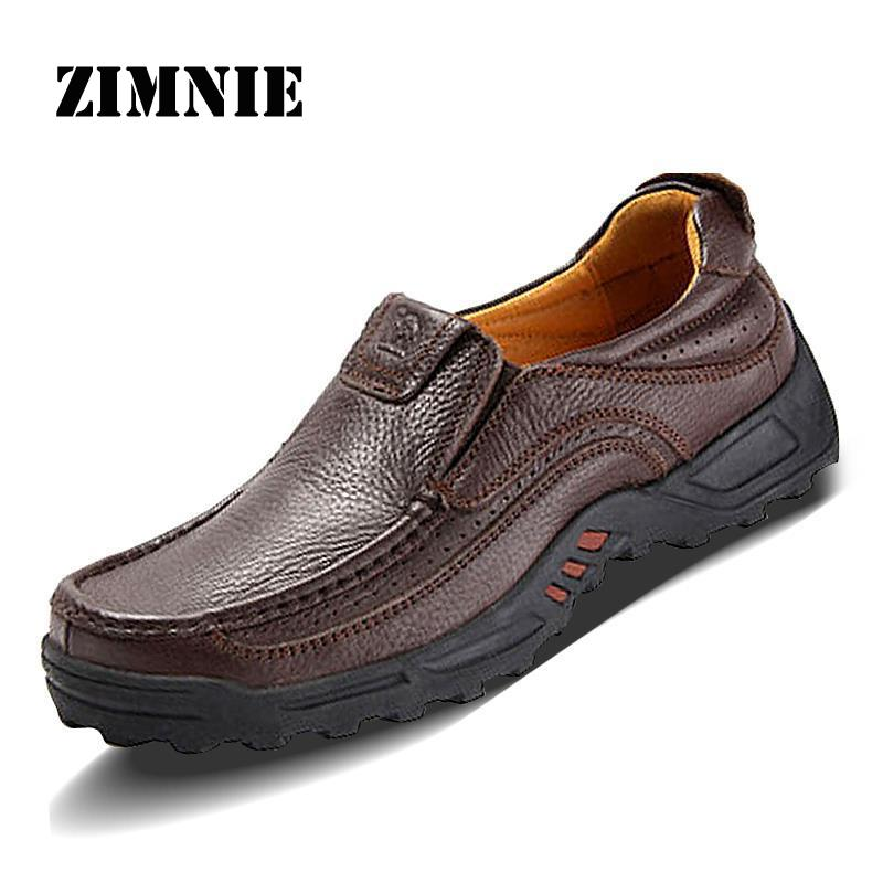 2016 Flats New Arrival Authentic Brand Quality Casual Men Genuine Leather Loafers Shoes Plus size 38
