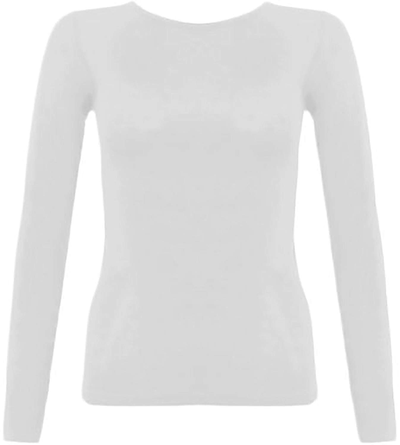 fcc50f41fd MA ONLINE Womens Ladies Plain Basic Long Sleeve Round Neck Top Ladies  Casual T Shirt Tees