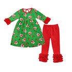 New items children's boutique clothing set baby toddler girl Christmas outfit with ruffle pants for wholesale